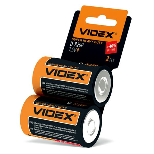 Солевые элементы питания VIDEX R20 2 SHRINK CARD